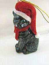 Kurt Adler American Short Hair Black Cat Glass Christmas Ornament 33058