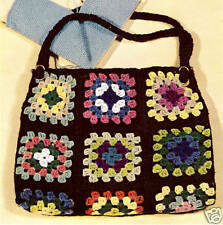 Vintage Crochet PATTERN to make Granny Square Purse Tote Work Bag GrannyBag