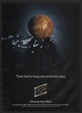 1993 JOHNNIE WALKER Black Label Scotch - BASEBALL & BROKEN GLASS -  VINTAGE AD