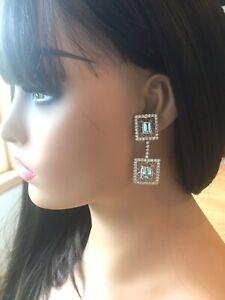 Vintage Stunning 12.05ct Aquamarine & Diamonds Chandelier Earrings 18K  W.G