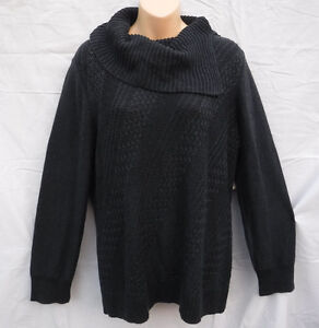Coldwater Creek NWT Oblique Cabled Gray Pullover Sweater sz 14  MSRP $60.