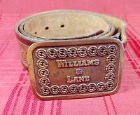 "Vintage 36"" Leather Hand Tooled Belt 1.5""W Hit Line Brass Buckle Williams & Lane"