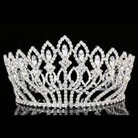 Bridal Pageant Rhinestone Crystal Prom Wedding Full Crown Tiara 8937