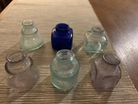 LOT ANTIQUE CARTER'S 1897 GREEN Thomas LILAC BLUE SANFORD GLASS INKWELLS