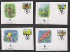 WWF BUTTERFLIES & MOTHS OF GUERNSEY, 4 FDC, (WORLD WIDE FUND FOR NATURE)