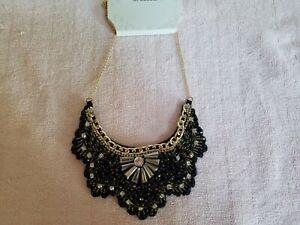 Pumpkin Patch Necklace Gray Charcoal Black Color Fiber Crochet Bib Style Statement Necklace with Metal Beads Pendants