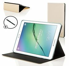 White Clam Shell Smart Case Cover for Samsung Galaxy Tab S2 9.7 T810 + Stylus
