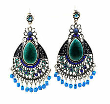 Ethnic Teal Earrings with Glass, Crystals and Stone Stud Fastener UK