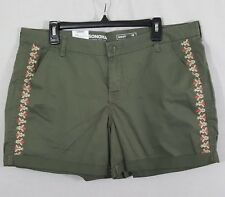 Sonoma Womens Shorts Size 16 Embroidered Green
