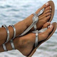 Women Low Heel Flat Sandals Flip Flops Toe Post Holiday Summer Beach Shoes Sizes