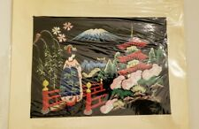 Vintage Japanese Tapestry painting Geisha girl in Landscape With Mount Fuji