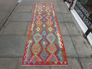 Vintage Kilim Traditional Hand Made Oriental Red Wool Kilim Runner 290x85cm