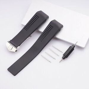 20 22mm Curved End Black Rubber Watch Band Strap For Tag Heuer cv2014.ft6014