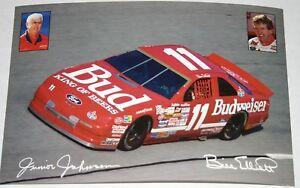 JUNIOR JOHNSON AND BILL ELLIOTTT BUDWEISER T-BIRD #11 NASCAR 1993 POSTER CARD