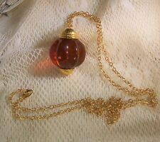 Women's Necklace Avon Signed Chain Gold Tone Large Brown Ball Pendant Long