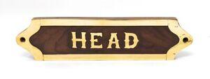 """""""Head"""" Brass on Wood Wall/Door Plaque 8""""W X 2""""H"""