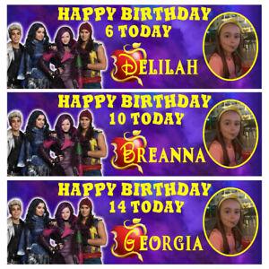 DESCENDANTS Photo Personalised Birthday Banner - Birthday Party Banner - 1x3ft