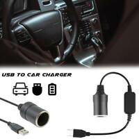 USB Port To 12V Car Cigarette Lighter Female Socket Converter Adapter Cable Cord