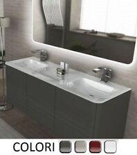Mobile Bagno Liverpool da 140cm 4 colori doppio lavabo cristallo bianco mobili|Q