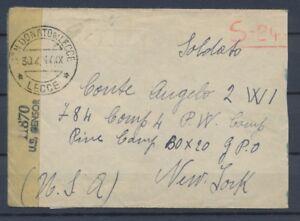 1944 Enveloppe Affranchie au verso Prisonnier Italien AUX USA + censure P2970