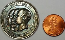 1888 German Wilhelm I Frederich II Wilhelm II Toned Silver Commemorative Medal