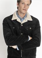Mens Lee Rider corduroy sherpa jacket 'Black' FACTORY SECONDS L220