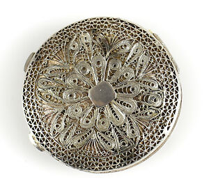 Asian Silver Filigree Round Compact, c1920 Hand Made Floral Design