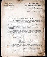 "Concessionnaire AUTOMOBILE CITROEN Ecran CARBURATEUR ""NOTE TECHNIQUE N°399"" 1939"