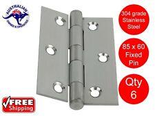 6 X STAINLESS STEEL DOOR HINGES 304 grade 85 x 60 BUTT HINGE FIXED PIN