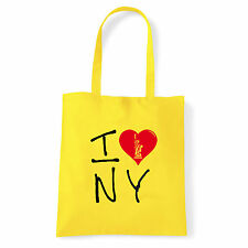 Art T-shirt, Borsa shoulder I Love NY, Giallo Shopper, Mare