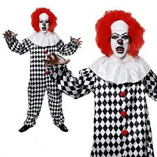 Adult Unisex Deluxe Killer Scary Clown Fancy Dress Halloween Horror Costume