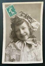 Edwardian romance 1910s original vintage photo postcard girl smile hair tiara