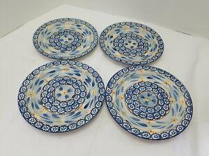 "Set Of 4 TEMP-TATIONS Old World Blue by Tara ~ Salad Plates ~8""~  USED."