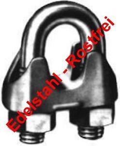 2 Stück EDELSTAHL Drahtseilklemmen DIN 741  6 mm  V4A, NIRO, AISI 316 poliert