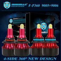 4Side 9006+9005 LED Headlight 4000W 600000LM Hi-Lo Beam Kit HID Lamp Power 6500K