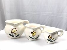 Set of 3 Stackable Measuring Cups Ceramic Floral Pitchers 1/4, 1/2, 1 cup