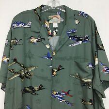 Paradise Found Vintage Airplanes Size XXL Green Hawaiian Shirt Made in HAWAII