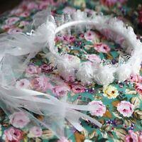 Wedding Flower Girl Garland Kid's Rose Ribbon Lace Headpiece Garland Tiara Hot