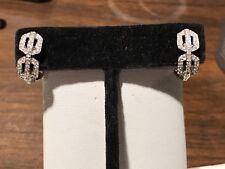 18KT WHITE GOLD & NATURAL DIAMOND OMEGA BACK EARRINGS FOR PIERCED EARS
