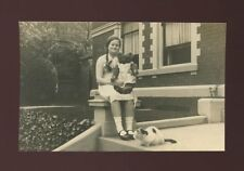 Childrens Toys Girl with TEDDY BEAR Cat c1950/60s? RP PPC