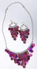 "Beautiful Fuchsia & Purple Genuine Shell Bib 17"" Necklace and matching earrings"