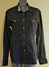 Panhandle Slim Woman's Western Shirt Cowgirl Black/White Stripe Pearl Snaps Lg