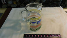 Glass Juice Pitcher Clear W/Colored Ring Pattern  Vintage
