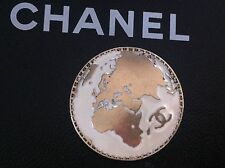 Chanel world map CC gold metal creme 30mm jacket jewel huge button