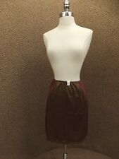 Vtg 1950s NEW Van Raalte Brown Dupon Nylon Scalloped Short Length Half Slip S