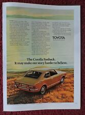 1971 Print Ad Toyota Corolla Fastback Automobile Car ~ Story Harder to Believe