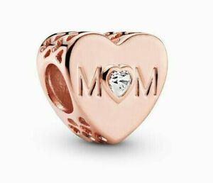 Genuine Pandora ALE R Rose Gold Mum Love Heart Charm 781881CZ
