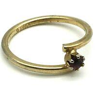 Avon Vintage 1960's Petite Garnet Stone Set on GoldTone Ring, Size 5