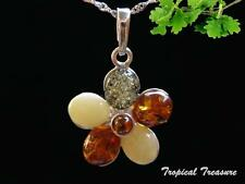 Baltic Amber & 925 SOLID Silver Pendant & chain    #208435