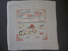 Completed Cross Stitch Piece. Sampler 28ct. Natural Linen